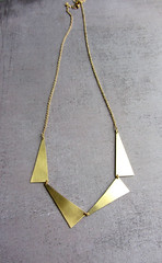 Long gold triangle statement necklace (Lunahoo) Tags: handmade brass minimalist goldnecklace longnecklace modernjewelry statementnecklace trianglenecklace lunahoo geometricnecklace