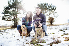 Megan & Landon [01.06.13] (Andrew H Wagner | AHWagner Photo) Tags: trees winter light portrait people sun sunlight snow dogs pine 35mm canon eos couple natural f14 naturallight flare rays 35l f14l 5dmkiii 5dmk3 5d3 5dmarkiii 5dmark3