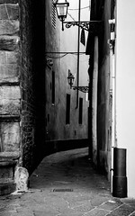 Callejn florentino (Leandro Fridman) Tags: urbano ciudad urbana calle callejn callejuela farol monocromtico blancoynegro byn bw monochrome nikond60 nikon d60