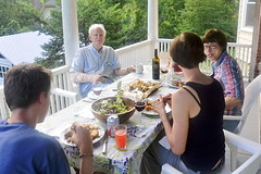 Another dinner (rachel.roze) Tags: dinner table dad mum porch miles tami douglaston july2016