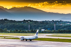 Dawn (denlazarev) Tags: aerspot2016 utair boeing b737 boeing737800 aerurss aer urss taxiing baselaero caucasus russia runway clouds canon air aviation airline airplane airport aircraft airliner sky spotting fly photo plane lightroom    outdoor takeoff sochi adler mountains   dawn