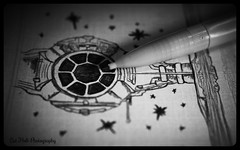 Stars and Star Wars (bambiscat) Tags: macromondays stars starwars tiefighter drawing pencil macro detail yellow art