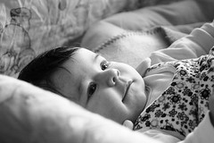 Looking at the world around her (gornabanja) Tags: baby infant girl small little blackwhite blackandwhite face portrait nikon d70