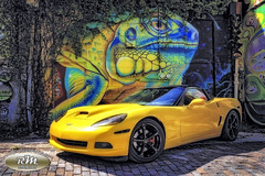 Monicas Corvette with Iguana Mural in HDR copy (RoryMad Studios) Tags: hdr corvette chevrolet yellow murals shineproject shine stpetersburg florida