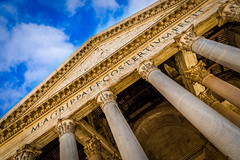 Pantheon Exterior, Rome, Italy (King Grecko) Tags: 5dmk3 ancient architecture catholocism christianity dome god hadrian imperial oculus panthenon pantheon papal pattern religion roman romanempire symmetry travel traveldestinations building canon canoneos5dmk3 catholic christian contrast geometric history italy lightroom religious rome shape temple texture colour color column columns