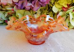 Vintage Fenton Carnival Glass Basket ~ Open Edge ~ Marigold (Donna's Collectables) Tags: vintage fenton carnival glass basket ~ open edge marigold thanksgiving