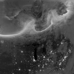 Auroras over North America as Seen from Space