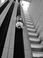 up to the top floor (Demetrios Lyras) Tags: bw sunlight building architecture lights blackwhite shadows elevator financialdistrict balconies sfist hyattregency sanfranciscocausa uptothetopfloor