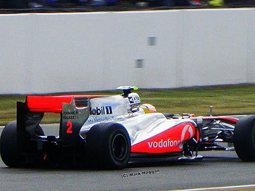 Lewis Hamilton in his McLaren at the 2010 British Grand Prix