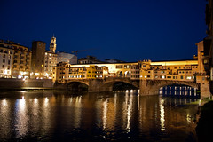 Ponte Vecchio at night (StewieD) Tags: bridge italy reflection water river florence italia ponte tuscany firenze arno toscana riverarno arnoriver pontevechhio