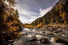 Val Roseg (PhiiiiiiiL) Tags: longexposure autumn colors clouds river landscape nikon day cloudy hiking herbst wolken hike val da fluss landschaft wandern ova engadin farben wanderung engadina langzeitbelichtung pontresina roseg engiadina d800e