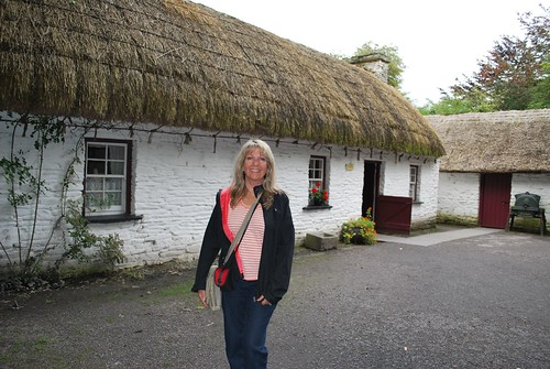 Kathleen at thatch house in folk park, Bunratty Castle