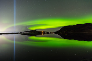 Aurora borealis and the beam from