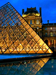 Louvre courtyard at dusk, Paris (AAVens Photo) Tags: city blue sunset urban paris france reflection water museum architecture night french evening design pyramid dusk louvre courtyard structure historical
