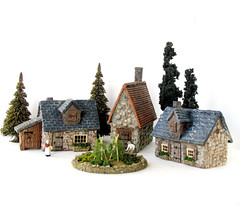 Three Handmade Cottages Lark Rise HO Scale Miniatures (Bewilder and Pine Miniatures) Tags: house english miniatures countryside miniature model european village cottage ho rise hermitage gauge hamlet lark hoscale hogauge miniaturebuilding candleford