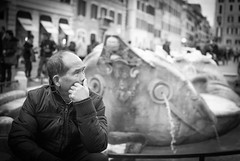 By the fountain (Michele Lazzarini) Tags: street city people bw italy man rome fontana romaitalia