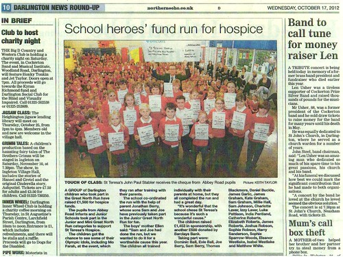 Junior Great North Run article in Northern Echo