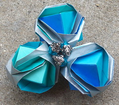 Brocade origami ball (KathlynH) Tags: origami ornament modularorigami