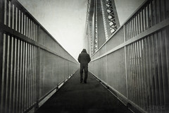 ConMan (Neal Moran Photo) Tags: morning bridge autumn mist male fog canon river walking back cheshire sunday sigma getty 1020mm 2012 runcorn merseyside widnes bridgewalk rivermersey lonefigure 600d gettycurator