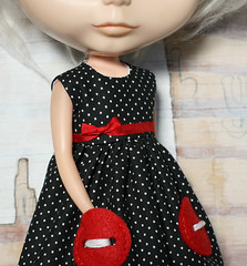 I am doll parts (Button Arcade) Tags: red white black wool dress buttons felt bow ribbon blythe pockets buttonarcade dollette