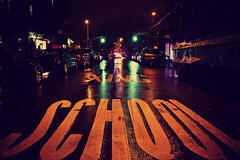 School X-ING After Dark (Ryan Rosa) Tags: street nyc autumn storm streets rain brooklyn night lights crossing streetlights empty sandy hurricane police nypd outoffocus nighttime sunsetpark rainfall afterdark wetpavement ryanrosa xingschool frankenstorm hurricanesandy frankenstormsandy
