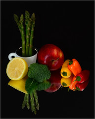 Colorful Vitamins (njk1951) Tags: apple cup vegetables fruit reflections lemon colorful broccoli health asparagus peppers vitamins nutrition onblack healthydiet creativephotocafe besteverdigitalphotography besteverexcellencegallery colorfulvitamins