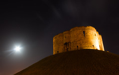 Clifford's Tower (snowyturner) Tags: york winter moon building tower night stars yorkshire hill clear mound floodlit cliffords
