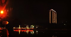 Kali mas surabaya, 23 : 40 WIB (Edjp Rsd) Tags: bridge panorama night river surabaya sungai photosynth kalimas iphone4 snapseed uploaded:by=flickrmobile flickriosapp:filter=nofilter