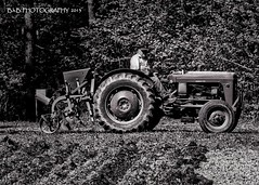 Pops checking out his rows! ( B.H.B. PHOTOGRAPHY ) Tags: blackandwhite white tractor black field georgia flickr looking grandpa pop planter planting lookingback masseyferguson 2013 plantingthegarden powderspringsgeorgia masseyfergusontractor