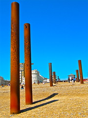 rust (cubicspace) Tags: blue summer england sky holiday beach sunshine metal canon coast pier photo seaside sand rust ruins iron brighton shadows post decay victorian pebbles structure leisure poles corrosion supports powesrhot