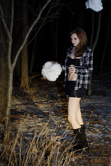 Clouds and Nightmares (Megan Serrano) Tags: girl night clouds dark photography flash dream dreaming cotton nightmare dreamland constructed