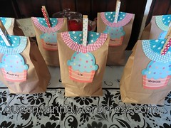 Goodie bags (queenvanna creations) Tags: party lines cupcake treat bags beanie biggirl goody favors clothespins goodie clothespegs feb02