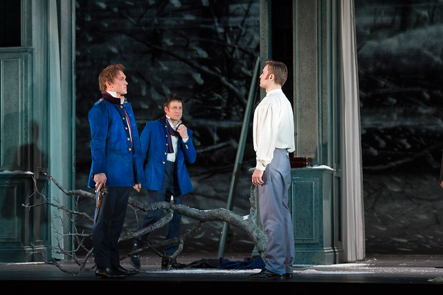 Pavol Breslik as Lensky, Simon Keenlyside as Eugene Onegin and Thom Rackett as Young Eugene Onegin in Eugene Onegin © ROH / Bill Cooper 2013