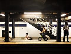 TFDH3961 (john fullard) Tags: nyc urban newyork color colour station bike underground subway metro manhattan platform july mta commuters 2016 phoneshots iphone6 hipstamatic