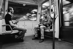 face  face (krystinemoessner) Tags: paris metro noir et blanc nb sw bw bn monochrome scene de vie street streetphoto streetpassionaward krystine moessner taek