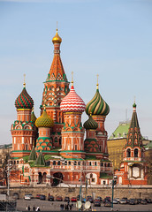 (Saint Basil's Cathedral on Red Square) (Nickolas Titkov) Tags:          canoneos5d sigma150mmf28exdgapohsm russia moscow saintbasilscathedral vasilevskydescent redsquare greatmoscowriverbridge outdoor road spring temples cathedrals blessedsaintvasilii sky