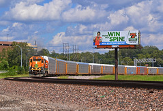 """Westbound Local in North Kansas City, MO (""""Righteous"""" Grant G.) Tags: bnsf ns atsf power emd ge locomotive train trains west westbound local north kansas city missouri"""
