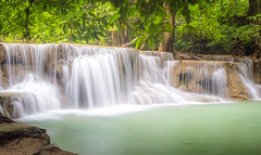 Huai Mae Kamin Waterfall (prasit suaysang) Tags: waterfall huaimaekaminwaterfall huaimaekamin nature nationalpark flowing smooth trees forest landscape outdoor rocks cliff