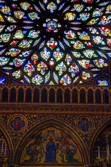 stained glass, colours, gold leaf, medieval magnificence of Sainte Chapelle, Paris, France (grumpybaldprof) Tags: saintechapelle paris france gothic gothicstyle stunning chapel church stainedglass amazing interior colour vibrancy contrast light palaisdejustice conciergerie capetian royalpalace iledelacite ledelacit 1248 rayonnant architecture gothicarchitecture building luminous louisix king kinglouisix passionrelics relics christianity extensive 13thcentury fleurdelis soaring magnificent beautiful inside stack dof details insaide window goldleaf gold golden painting pictoral architectural tamron 16300 16300mm tamron16300mmf3563diiivcpzdb016