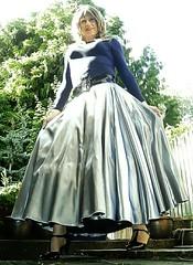 Just WOW! (Amber :-)) Tags: long full silver satin skirt tghirl transvestite crossdressing