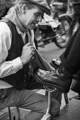 Stranger #44: Mr Swervy (judi may) Tags: 100strangersproject portrait monochrome blackandwhite mono sheringham norfolk fortiesweekend 1940s shoes shoeshine mrswervy canon7d 50mm