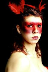 Wrath (Julia Ellies) Tags: portrait art me fashion canon photography photo model foto dante feathers makeup first primo fotografia ira rosso ritratto wrath vizi trucco peccati piume settepeccaticapitali