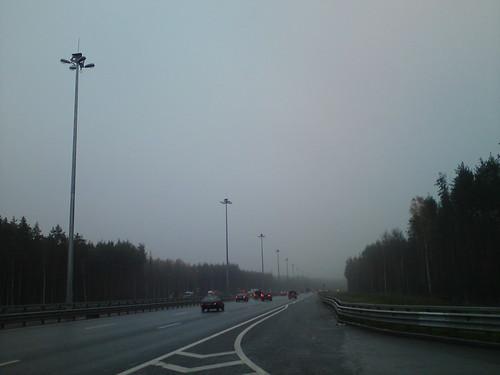 КАД: дождь, туман