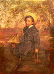 1880  English painting boy with pond boat (oldsailro) Tags: park old boy sea summer people sun lake playing english beach water pool girl sunshine youth sailboat race vintage painting children fun toy boat miniature wooden pond model waves sailing ship child with time yacht antique group boom regatta mast hull spectators watercraft adolescence keel fashioned