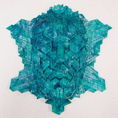 Naiad (manila_folder) Tags: sculpture face paper origami mask geometry joel profile tiles cooper hexagon shape tessellation tiling papercraft pleats papersculpture naiad pleat joelcooper