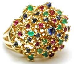 1029. Bold Gold and Multi Gem Set Ring