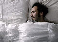 day is done (cara slifka) Tags: usa white man cozy bed alone loneliness sleep gray maine marriage husband tired bedtime awake mustache comfort fatigue surrender lonliness bedding whitesheets dayisdone