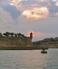 Valletta Malta 13th February 2006 (loose_grip_99) Tags: sunset holiday tower island mediterranean harbour 2006 malta valletta valetta