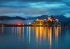 Blue Hour Cruise (Ania.Photography) Tags: 2005 morning travel sea cloud mountain reflection water horizontal alaska sunrise photography harbor marine ship ngc illuminated journey transportation cruiseship coastline bluehour luxury abundance seward mountainrange moored resurrectionbay traveldestinations colorimage moodysky lightingequipment abigfave