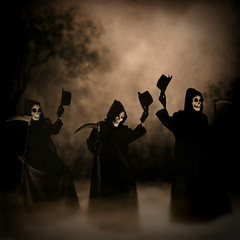 ils danse macabre, les trois (Fld) Tags: mist 3 halloween fog sepia vintage death three dance opera flood top hats danse parade faux macabre clone scythe plagues threetenors floodie 33daysofhalloween